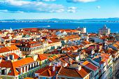 Old Architecture With Red Roofs In Lisbon, Portugal. Panoramic View From Observation Point poster