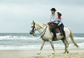 Two Riders Are Training Their Horses On The Beach poster