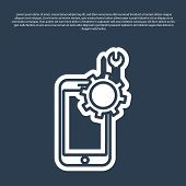 Blue Line Mobile Phone With Screwdriver And Wrench Icon Isolated On Blue Background. Adjusting, Serv poster