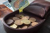 Euros Coins Change In Open Dark Brown Hard Leather Coin Case Tray Purse Or Wallet And Euro Banknotes poster