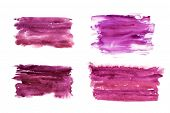 Watercolor Spots, Splashes. Pink Magenta Design Elements. White Background. Isolated Objects. poster