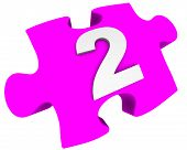 The Number Two. Puzzle Element. The White Number 2 (two) On A Pink Puzzle Element. Isolated. 3d Illu poster
