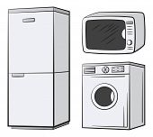 Group Of Technical Equipment Icons. Refrigerator, Washing Machine, Microwave. Isolated On White. Vec poster