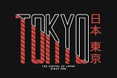 Tokyo, Japan Apparel And T-shirt Trendy Design. Typography Graphics Print With Inscription In Japane poster