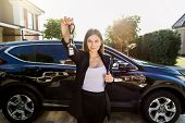 Auto Business, Car Sale, Gesture And People Concept - Happy Caucasian Businesswoman Or Saleswoman Wi poster