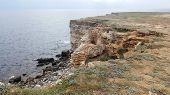 Limestone Rocky Coast And Sea On Cape Tarkhankut, Black Sea, Crimea, Russia. Beautiful Seascape. Tra poster