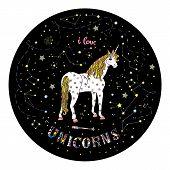 Beautiful Unicorn With Yellow Mane Standung Inside Black Circle. Vector Illustration poster