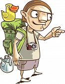 stock photo of adversity humor  - The backpacker with the all staff he needs in his journey - JPG