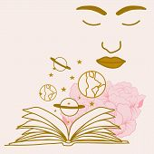 Vector Illustration With Open Book, Celestial Elements And Woman Face poster