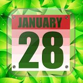 January 28 Icon. For Planning Important Day With Green Leaves. Banner For Holidays And Special Days. poster