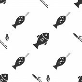 Set Fishing Rod And Fish, Fish And Fish On Hook On Seamless Pattern. Vector poster