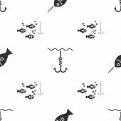 Set Fish On Hook, Fishing Hook Under Water And Fishing Hook Under Water With Fish On Seamless Patter poster