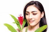 Portrait Natural Beauty Asian Woman. Attractive Beautiful Young Lady Look At Flower Her Face Skin Be poster