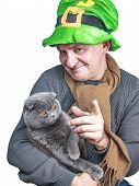 Saint Patrick With A Fold Cat. poster