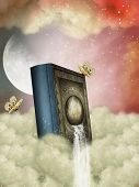 picture of storybook  - Fantasy storybook in the sky with waterfall - JPG