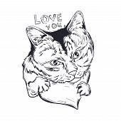 Cat Animal On Monochrome Heart, Love You Isolated Feline Pet Sketch. Vector Illustration Postcard Fe poster