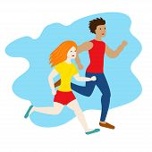Running Man And Woman. Sport Vector Male And Female. Sport Jogging Competition. Marathon Run. Traini poster