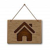 Logo casa de madeira de orientação