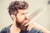 Making Hard Decision. Bearded Man Concentrated Face. Thoughtful Mood Concept. Making Important Life  poster