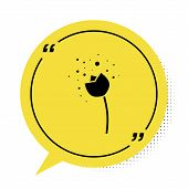Black Flower Producing Pollen In Atmosphere Icon Isolated On White Background. Yellow Speech Bubble  poster