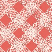 Rose Pink And White Vector Seamless Check Pattern. Allover Pattern. Ink Grunge Grid. Hand Drawn Seam poster