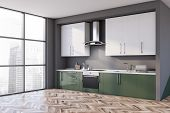 Gray And Green Kitchen Corner With Countertops poster