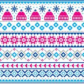 Winter, Christmas Fair Isle Style Traditional Knitwear Vector Seamless Pattern With Winter Hats And  poster