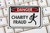 Charity Scam Danger Sign, A Black And White Danger Sign With Text Charity Fraud And Theft Icon On A  poster