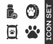 Set Paw Print, Dog Medicine Bottle, Bag Of Food For Dog And Paw Print Icon. Vector poster