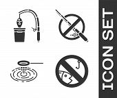 Set No Fishing, Fishing Rod And Fish, Fishing Net In Water And No Fishing Icon. Vector poster
