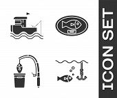 Set Fishing Hook Under Water With Fish, Fishing Boat With Fishing Rod On Water, Fishing Rod And Fish poster