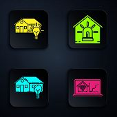 Set Laptop With Smart Home With Wi-fi, Smart House And Light Bulb, Smart House And Light Bulb And Sm poster