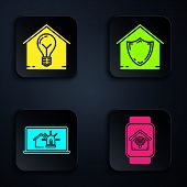 Set Smart Watch With Smart Home With Wi-fi, Smart House And Light Bulb, Laptop With Smart House And  poster