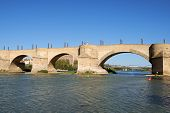Stone Bridge (puente De Piedra) Over River Ebro In Zaragoza, Spain