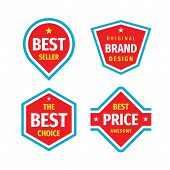 Business Badges Vector Set In Retro Vintage Design Style. Best Seller. The Best Choice. The Best Pri poster