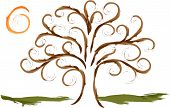 image of scroll design  - Vector swirly tree branches and scroll design limbs with sun - JPG