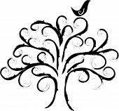Swirly Tree With Bird