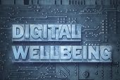 Digital Wellbeing Phrase Made From Metallic Letterpress Blocks On The Pc Board Background poster