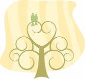 Lovebirds In Heart Scroll Tree