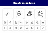 Beauty Procedures Line Icon Set. Set Of Line Icons On White Background. Face, Girl, Beauty Injection poster