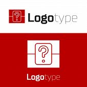 Red Mystery Box Or Random Loot Box For Games Icon Isolated On White Background. Question Box. Logo D poster