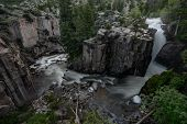 Wide View Of Shell Creek Falls In Wyoming Wilderness poster