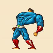 Cartoon Illustration Of Cartoon Strong Hero In Heroic Pose Isolated On White Background poster