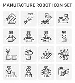 Manufacture Robot And Production Line Icon Set. poster