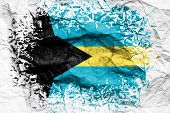 The National Flag Of The Bahamas  Is Painted On Crumpled Paper. Flag Printed On The Sheet. Flag Imag poster