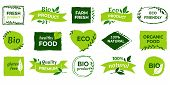 Organic Logo. Vegan Product Labels, Natural Food And Eco Vegetables Badges, Fresh And Healthy Produc poster