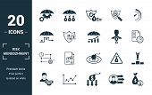 Risk Management Icon Set. Include Creative Elements Risk Management, Risk Capital, Risk Plan, Projec poster