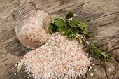 Himalayan Salt On A Wooden Board
