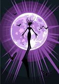 Vector Illustration Of A Flying Witch