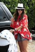 MALIBU - JUL 4: Model Alessandra Ambrosio takes daughter Anja, son Noah out for a walk in Malibu on July 4, 2012